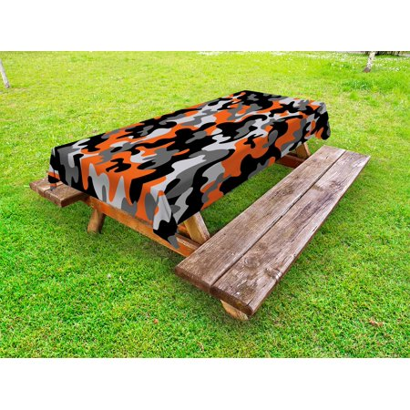 Camo Outdoor Tablecloth, Vibrant Artistic Camouflage Lattice Like Service Theme Modern Design Print, Decorative Washable Fabric Picnic Table Cloth, 58 X 84 Inches,Orange Grey Black, by Ambesonne](Camouflage Tablecloths)