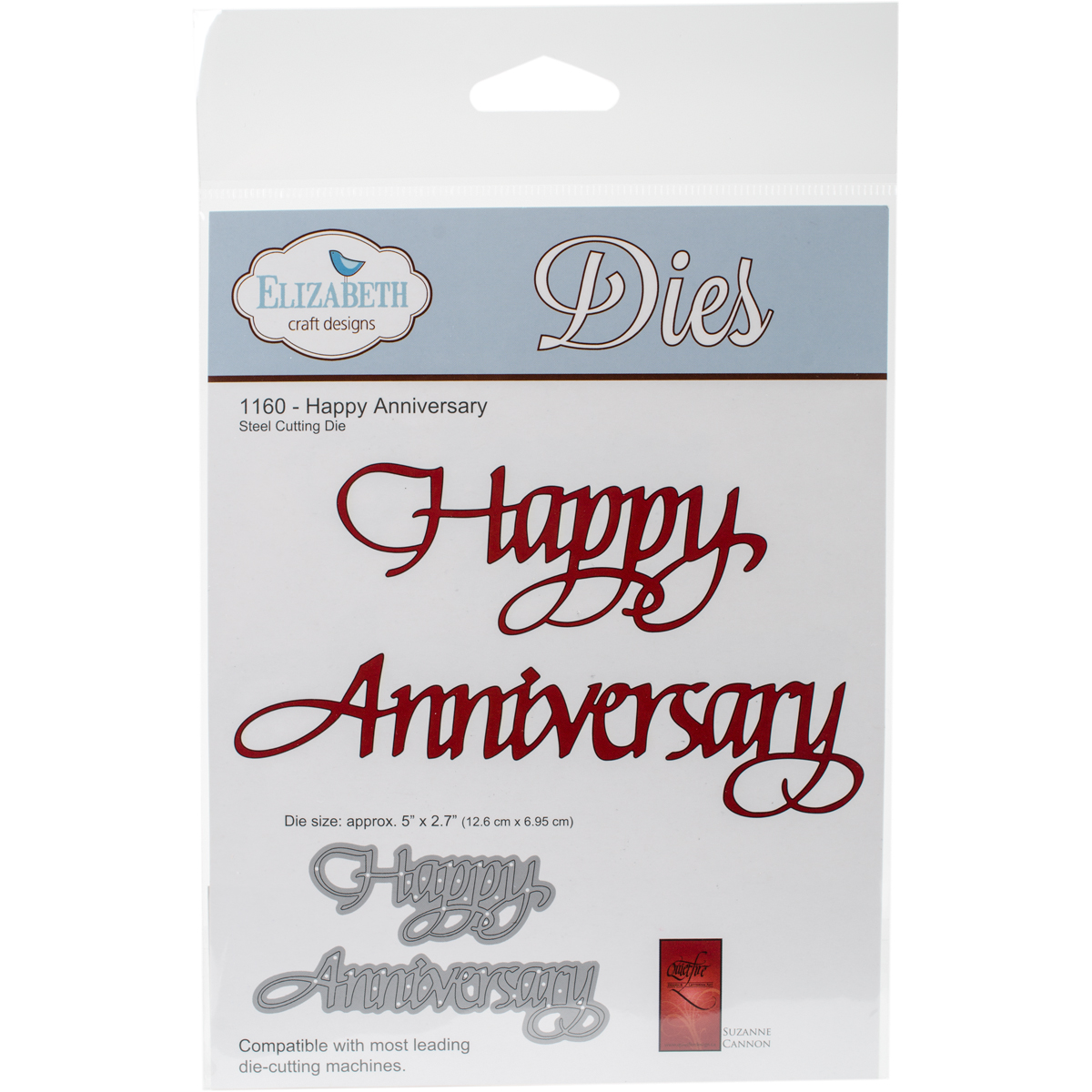 "Elizabeth Craft Metal Die-Happy Anniversary, 2.7""X5"""