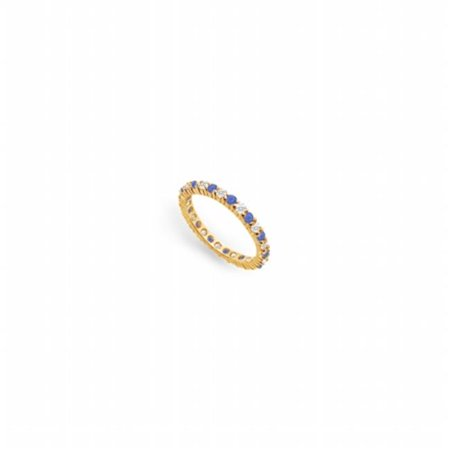 Diamond & Blue Sapphire Eternity Band 18K Yellow Gold, 1.00 CT - Size (Sapphire And Diamond Eternity Band Yellow Gold)