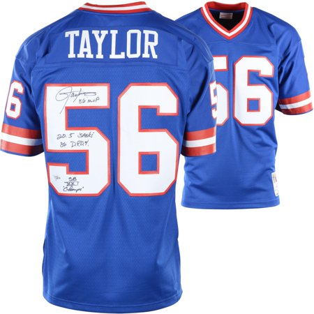 uk availability 745e6 181a9 Lawrence Taylor New York Giants Autographed Blue Mitchell & Ness Replica  Jersey with Multiple Inscriptions - Limited Edition of 12 - Fanatics ...