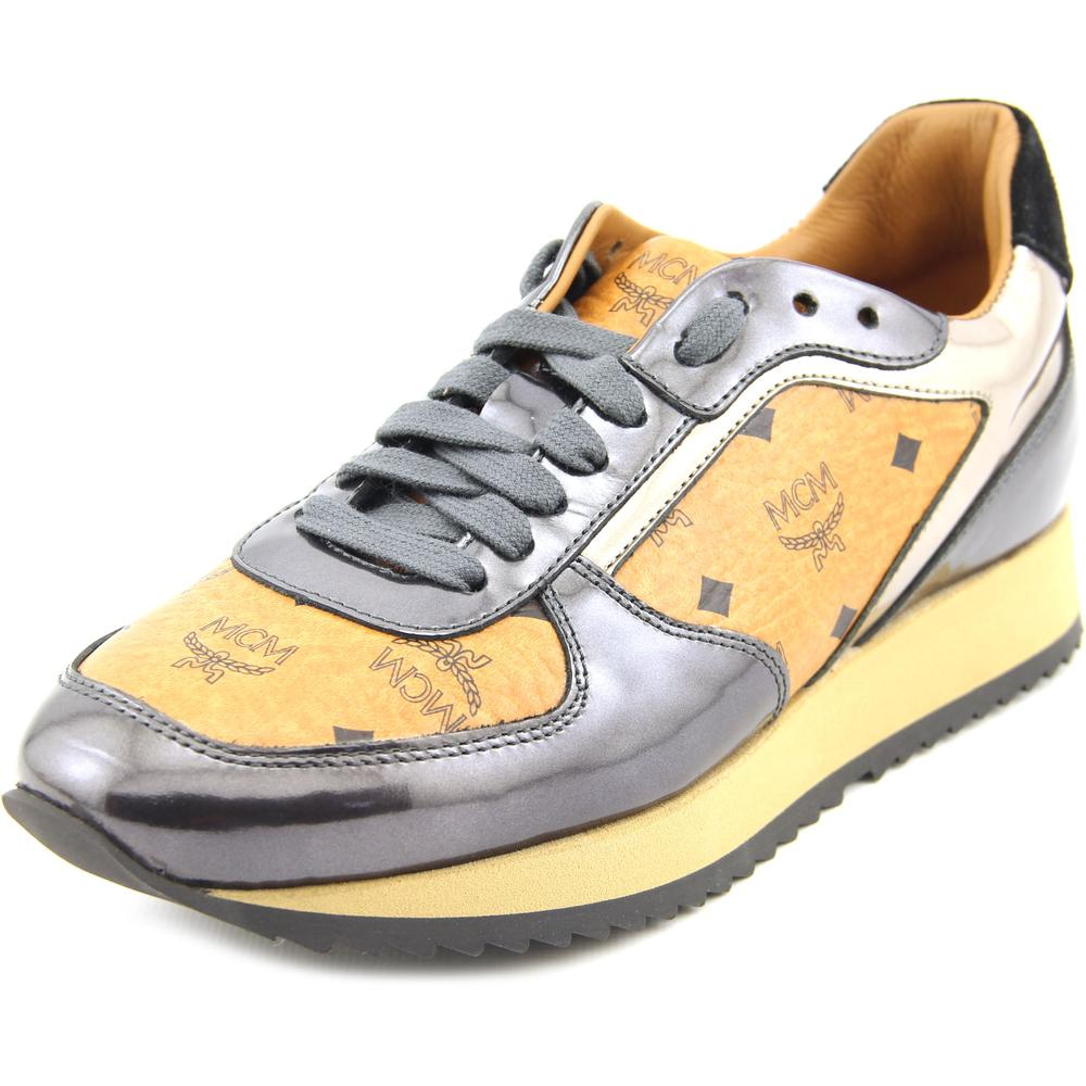 MCM Visetos Jogger Women   Leather Tan Fashion Sneakers