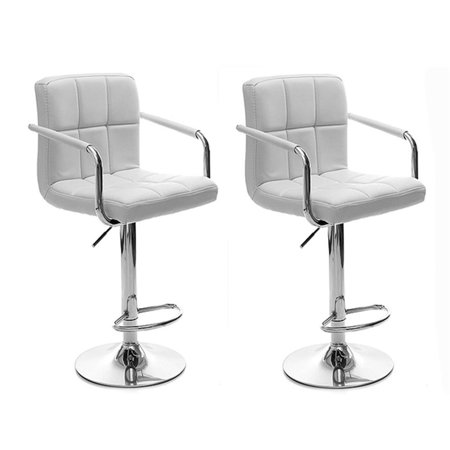 Bar Stools Set Of 2 Modern Square Pu Leather Adjule Barstools Counter With Arms And
