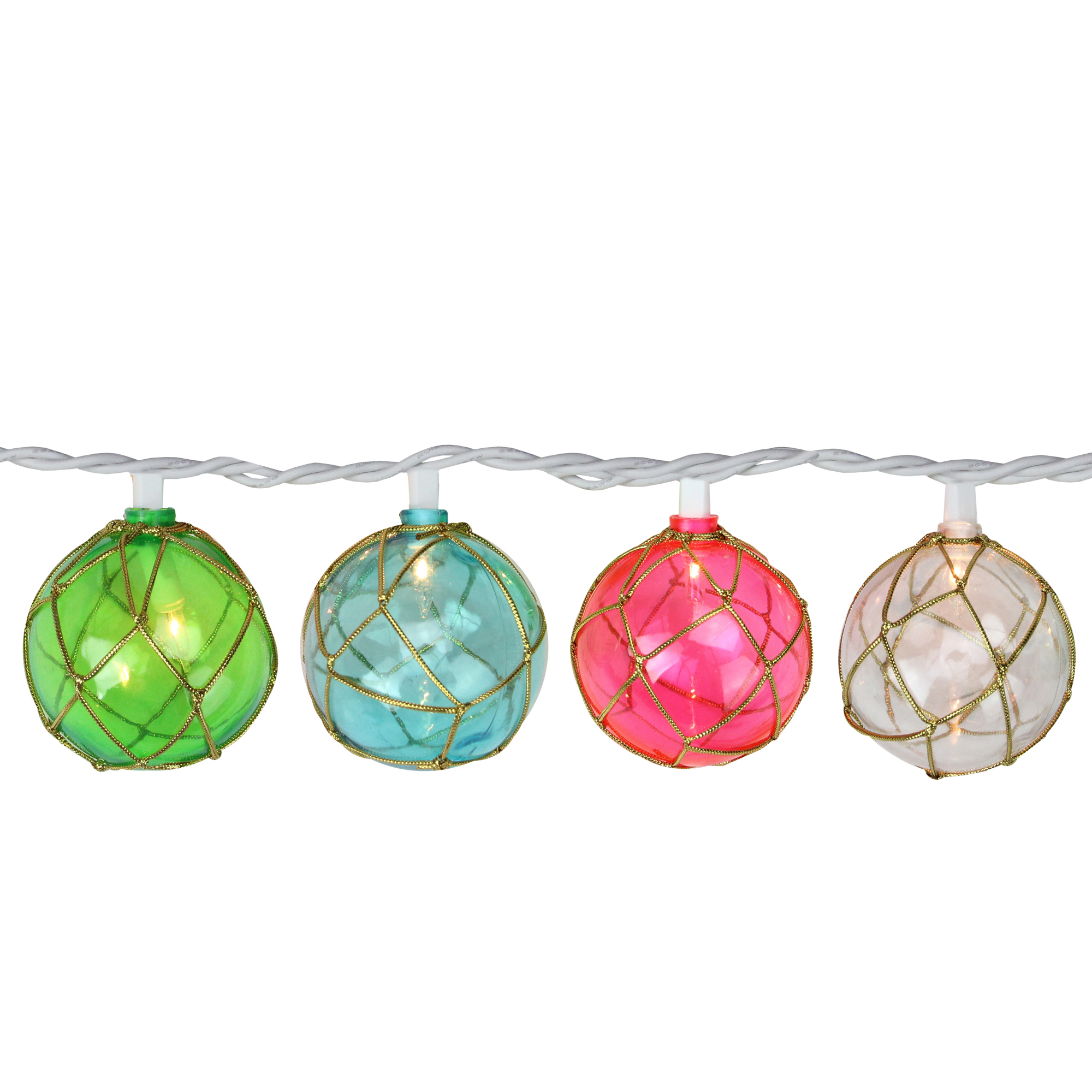 Set of 10 Pink, Blue and Green Globe Summer Patio String Lights – 8.5 ft White Wire