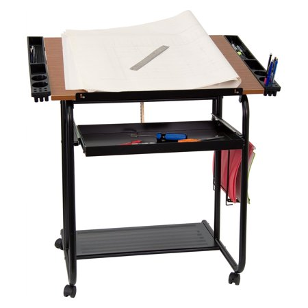 Adjustable Drawing And Drafting Table With Black Frame And Dual Wheel Casters ()