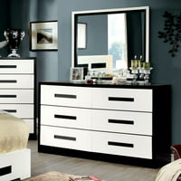 Furniture of America Cruela 6 Drawer Dresser - Black & White