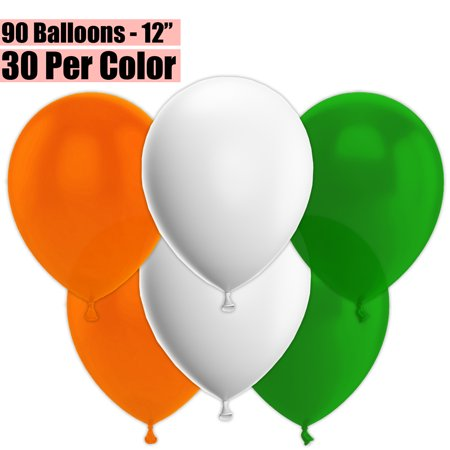 12 Inch Party Balloons, 90 Count - Orange + White + Emerald Green - 30 Per Color. Helium Quality Bulk Latex Balloons In 3 Assorted Colors - For Birthdays, Holidays, Celebrations, and More!!
