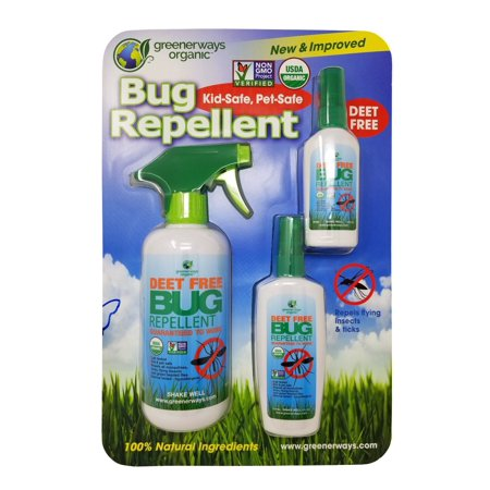 Greenerways Organic Bug Repellent Kid/Pet Safe, 100% Natural, Deet Free 3 Pack