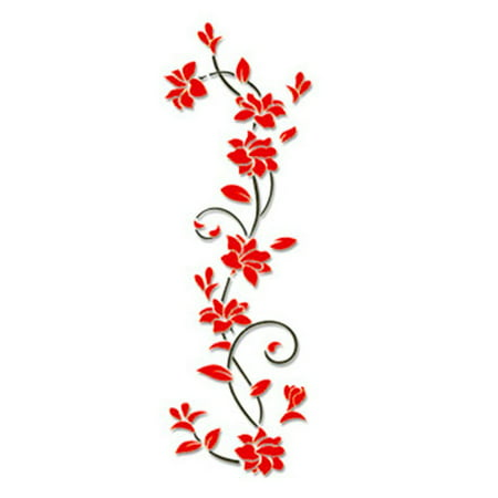 Wall Stickers 3D Romantic Rose Flower Pattern Wall Sticker Removable Decal - image 1 de 6