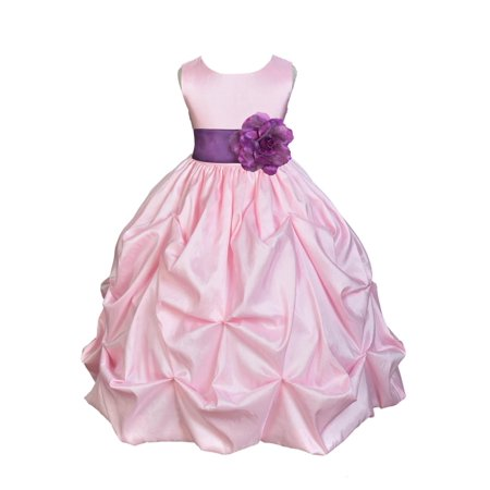 Ekidsbridal Taffeta Bubble Pick-up Baby Pink Flower Girl Dress Weddings Summer Easter Special Occasions Pageant Toddler Birthday Party Holiday Bridal Baptism Junior Bridesmaid First Communion 301S for $<!---->