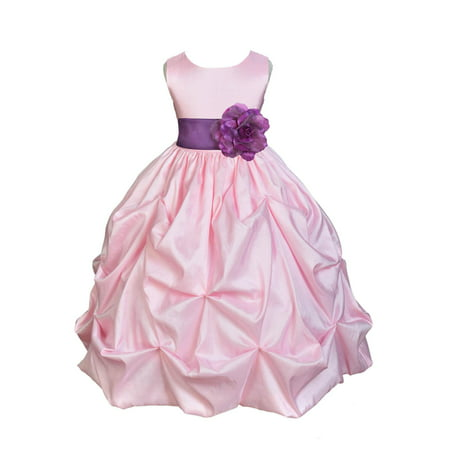 Ekidsbridal Taffeta Bubble Pick-up Baby Pink Flower Girl Dress Weddings Summer Easter Special Occasions Pageant Toddler Birthday Party Holiday Bridal Baptism Junior Bridesmaid First Communion 301S](Pink Birthday Dresses)