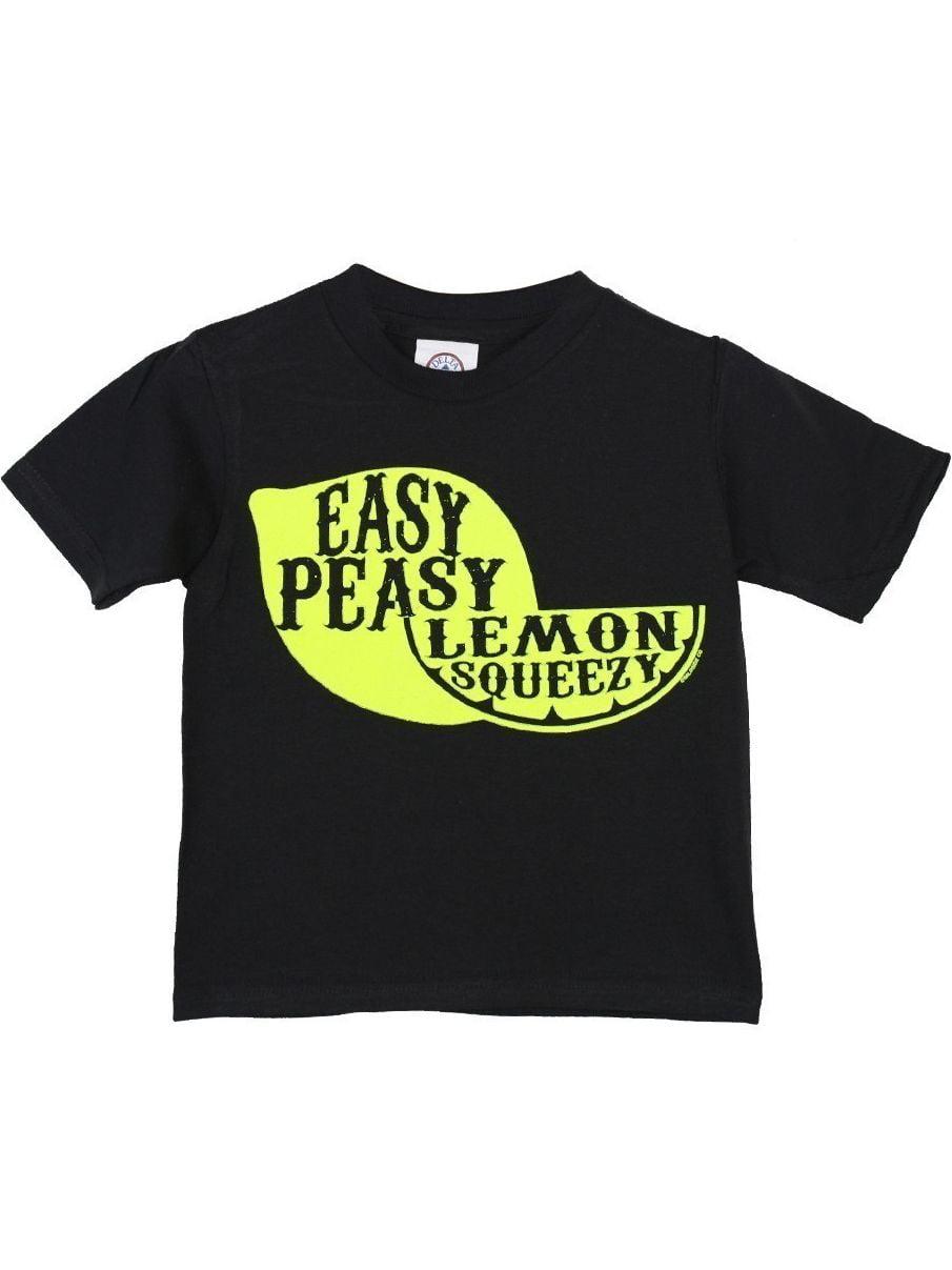 "Girls Black ""Easy Peasy Lemon Squeezy"" Print Cotton T-Shirt"
