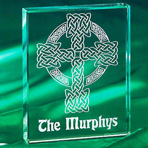 Personalized Celtic Cross Glass Block
