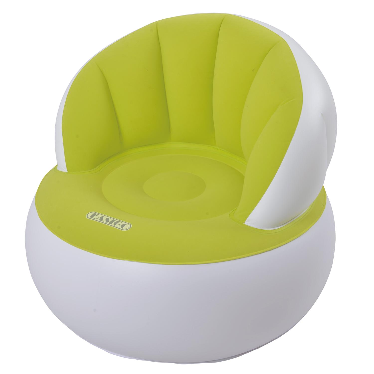 33.5 Lime Green and White Decorative Indoor Inflatable Adult Armchair by Pool Central