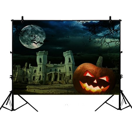 PHFZK 7x5ft Moon Backdrops, Pumpkin on Halloween against Scary Old Castle Photography Backdrops Polyester Photo Background Studio Props (Old Halloween Photos)