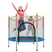 55 Inches Round Kids Trampoline with Safety Enclosure Net & Spring Pad(440 lbs Loading Capacity)