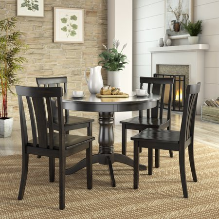 Lexington 5-Piece Dining Set with Round Table and 4 Slat Back Chairs ()