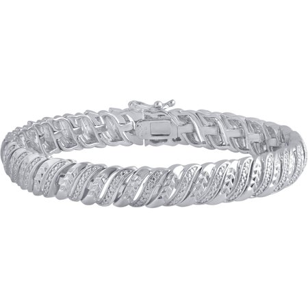 Diamond Accent Rhodium Over Brass Tennis Bracelet (Diamond Tennis Estate Bracelet)