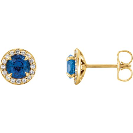 14k Yellow Gold Gem Quality Chatham® Created Sapphire & 1/6 Ct Diamond Halo Stud Earring (Best Quality Yellow Sapphire Gemstone)