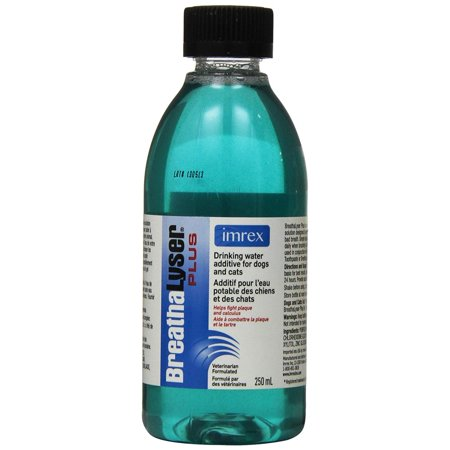 BreathaLyser Plus Water Additive, 250 mL, Reduces sources of halitosis, does not just mask bad breath By Ceva
