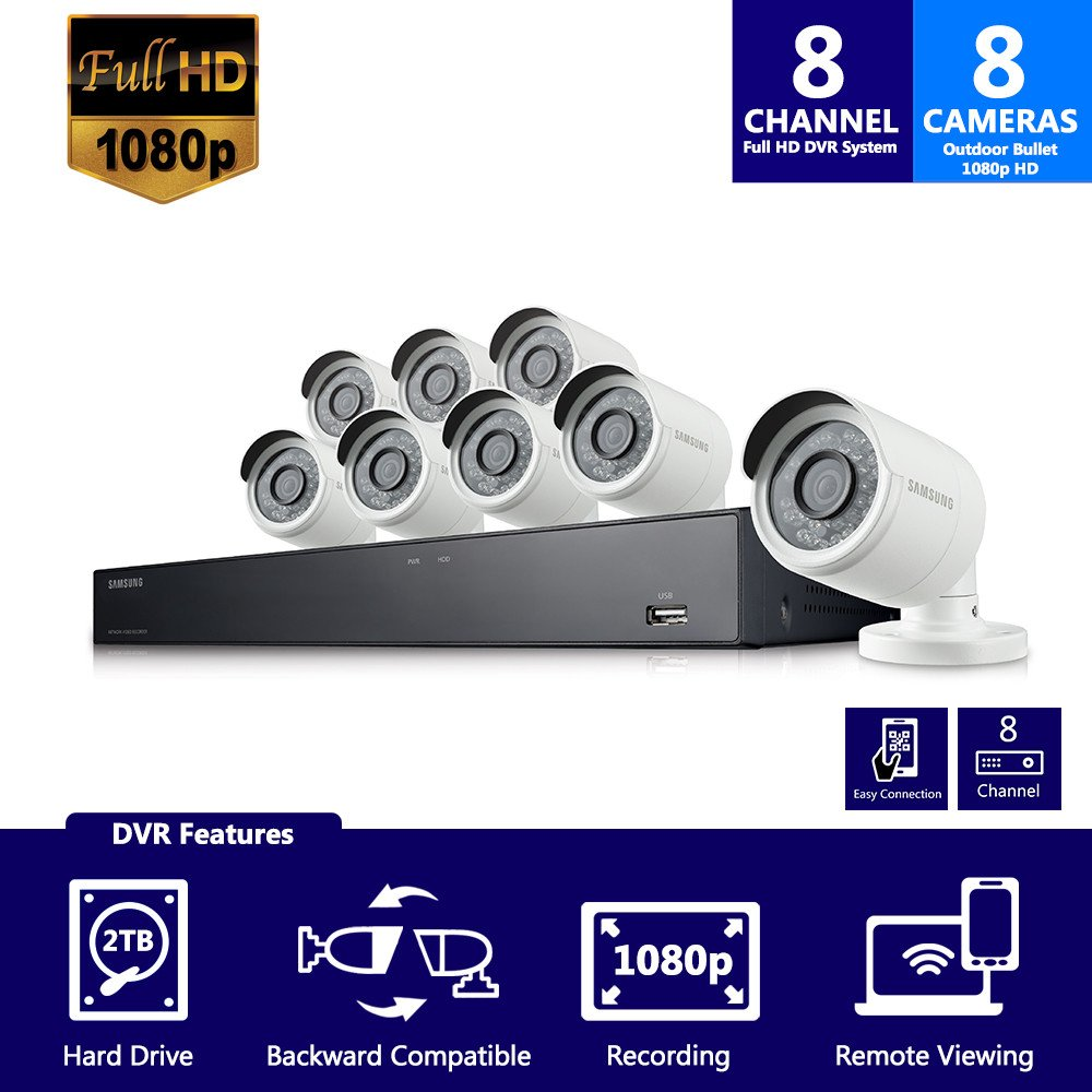 Samsung SDH-B74081 8 Channel 1080p HD 2TB Security System with 8 Bullet Cameras