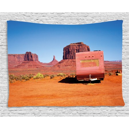 Primitive Country Decor Tapestry, Abandoned Caravan Monument Valley ...