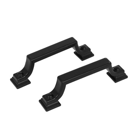 Closet Cabinet Metal Bridge Shaped Pull Handles Black 92x16x23mm 2pcs (Black Closet Pull)