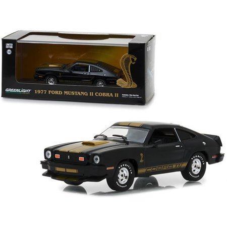 1977 Ford Mustang Cobra II Black with Gold Stripes 1/43 Diecast Model Car by
