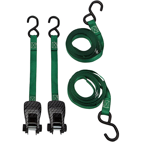 SmartStraps 10' 1500 lbs. CarbonX Ratchet Tie Down, Green 2 Pack