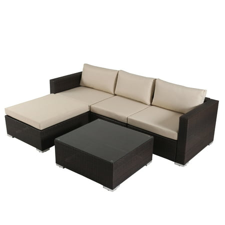 Santa Rosa 5pc Wicker Patio Seating Sectional Set with Cushions - Multi Brown with Beige Cushions - Christopher Knight Home