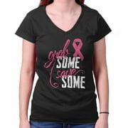Breast Cancer Awareness Shirt Grab Some Save Pink Ribbon Cool Junior V-Neck Tee
