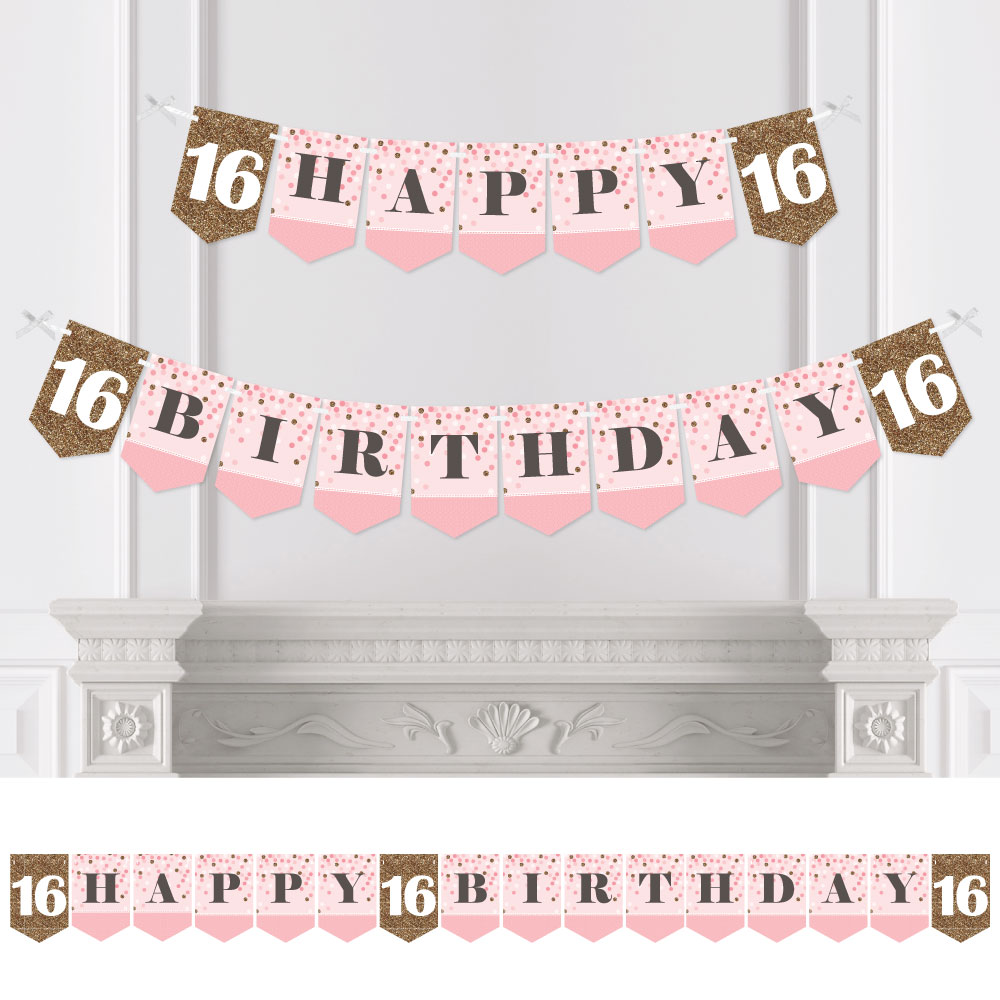 Sweet 16 - 16th Birthday Party Bunting Banner - Happy Birthday