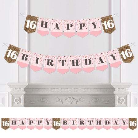 Happy 16th Birthday Banners (Sweet 16 - Birthday Party Bunting Banner - 16th Party Decorations - Happy)