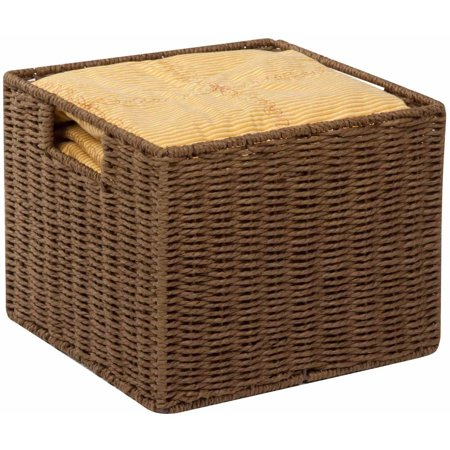 Brown Oval Basket - Honey Can Do Parchment Cord Basket with Wire Frame and Handles, Brown