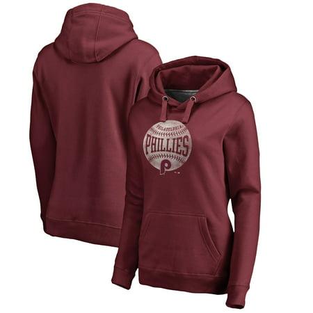 Maroon Pullover Hoodie - Philadelphia Phillies Fanatics Branded Women's Cooperstown Collection Slider Pullover Hoodie - Maroon