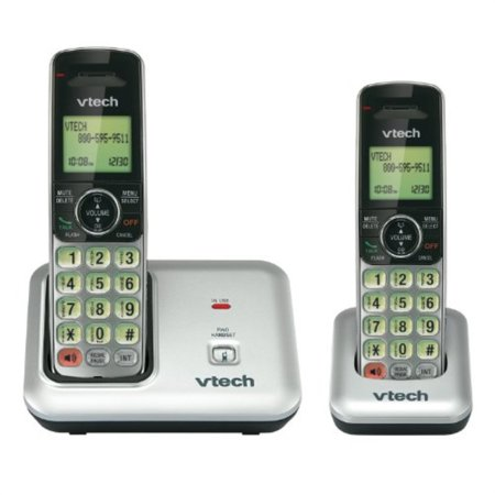 vtech cs6419-2 2-handset dect 6.0 cordless phone with caller id, expandIle up to 5 handsets, wall mountIle, silver/black (Wall Phone Cordless)