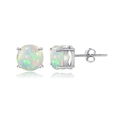 Sterling Silver 1.10ct Ethiopian Opal 6mm Stud (Designer Tourmaline Earrings)