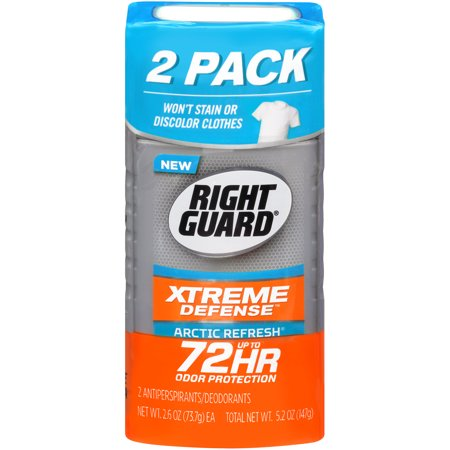 Two 2 Ounce Stock (Right Guard Xtreme Defense 5 Antiperspirant Deodorant Invisible Solid Stick, Arctic Refresh, 2.6 Ounce (Pack of)