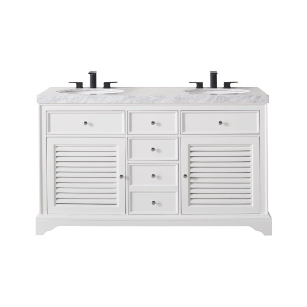 Stufurhome Magnolia 60 Inch White Double Sink Bathroom Vanity With Drains And Faucets In Matte Black Walmart Com Walmart Com