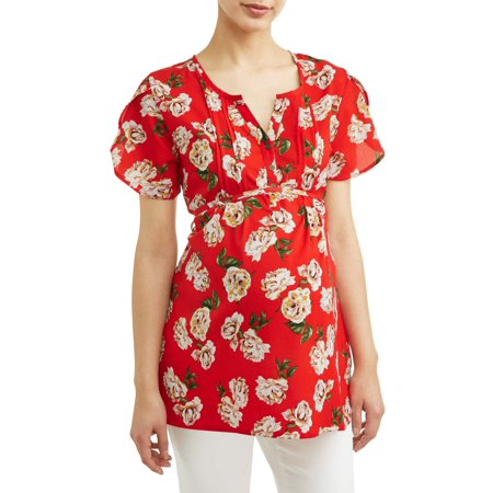 Oh! MammaMaternity floral button front top - available in plus sizes