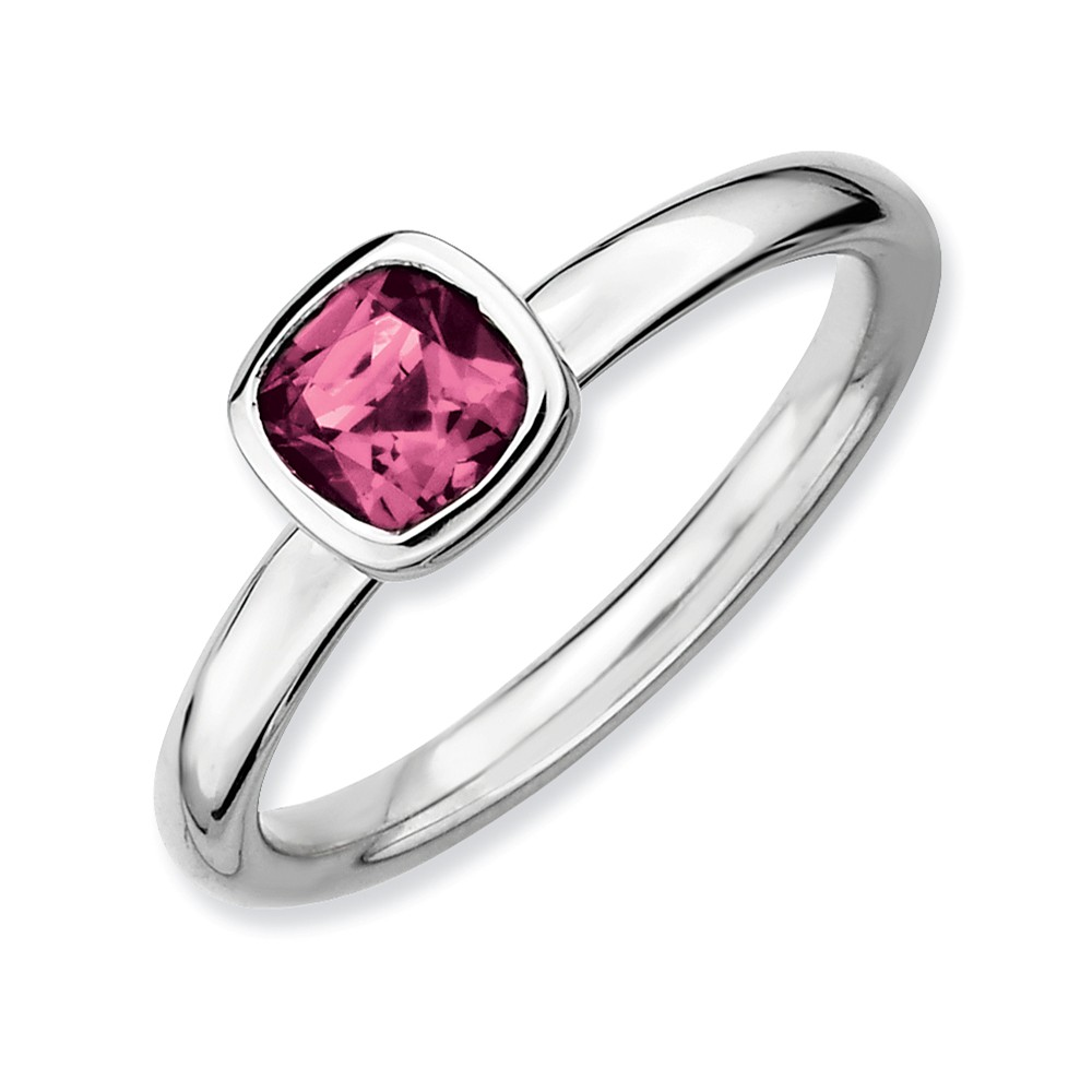 Solid 925 Sterling Silver Stackable Expressions Cushion Cut Pink Simulated Tourmaline Ring (2.3mm) Size 10 by AA Jewels