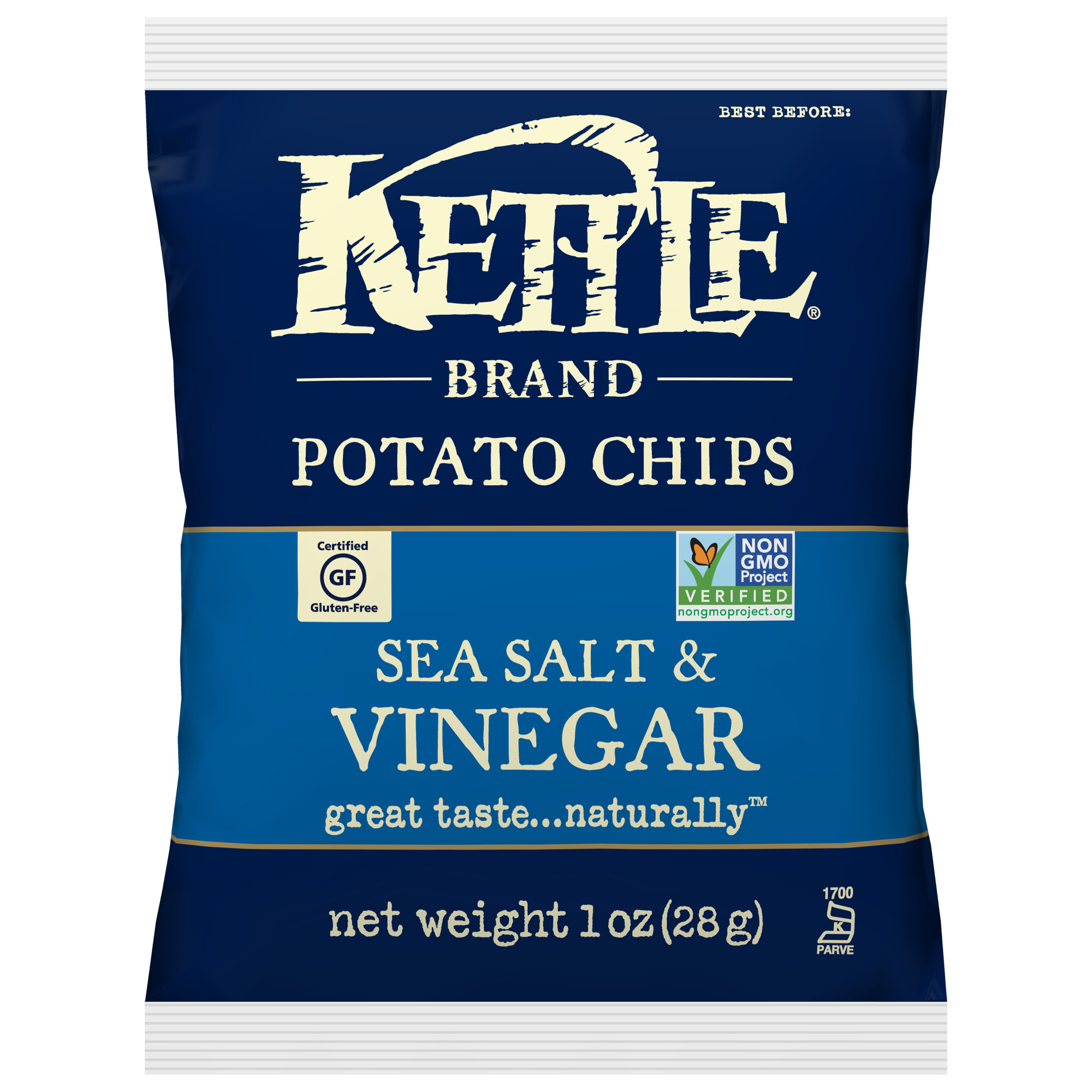 Kettle Brand, Sea Salt and Vinegar Potato Chips, Single-Serve 1 Oz, 72 Ct