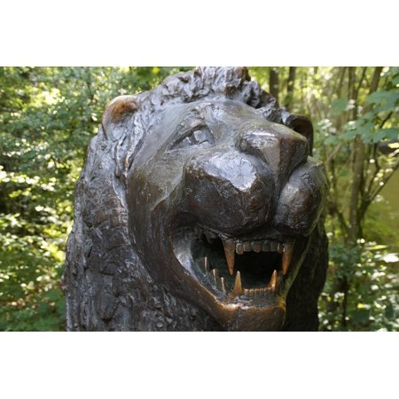 LAMINATED POSTER Bronze Brass Metal Tooth Statue Baring Teeth Lion Poster  Print 24 x 36