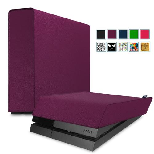 Fintie Playstation 4 PS4 Gaming Console Dust Cover PU Leather Case - Vertical + Horizontal 2 in 1 Pack Kits, Purple