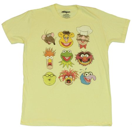 Muppets Animal Hoodie (The Muppets Mens T-Shirt - 9 Newsprint Style Faces of Kermit Animal Gonzo &)