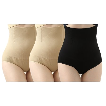iLoveSIA Womens High Waist Underwear Tummy Control C-Section Recovery Slimming Shapewear Panties Pack of 3 2Nude+Black Size