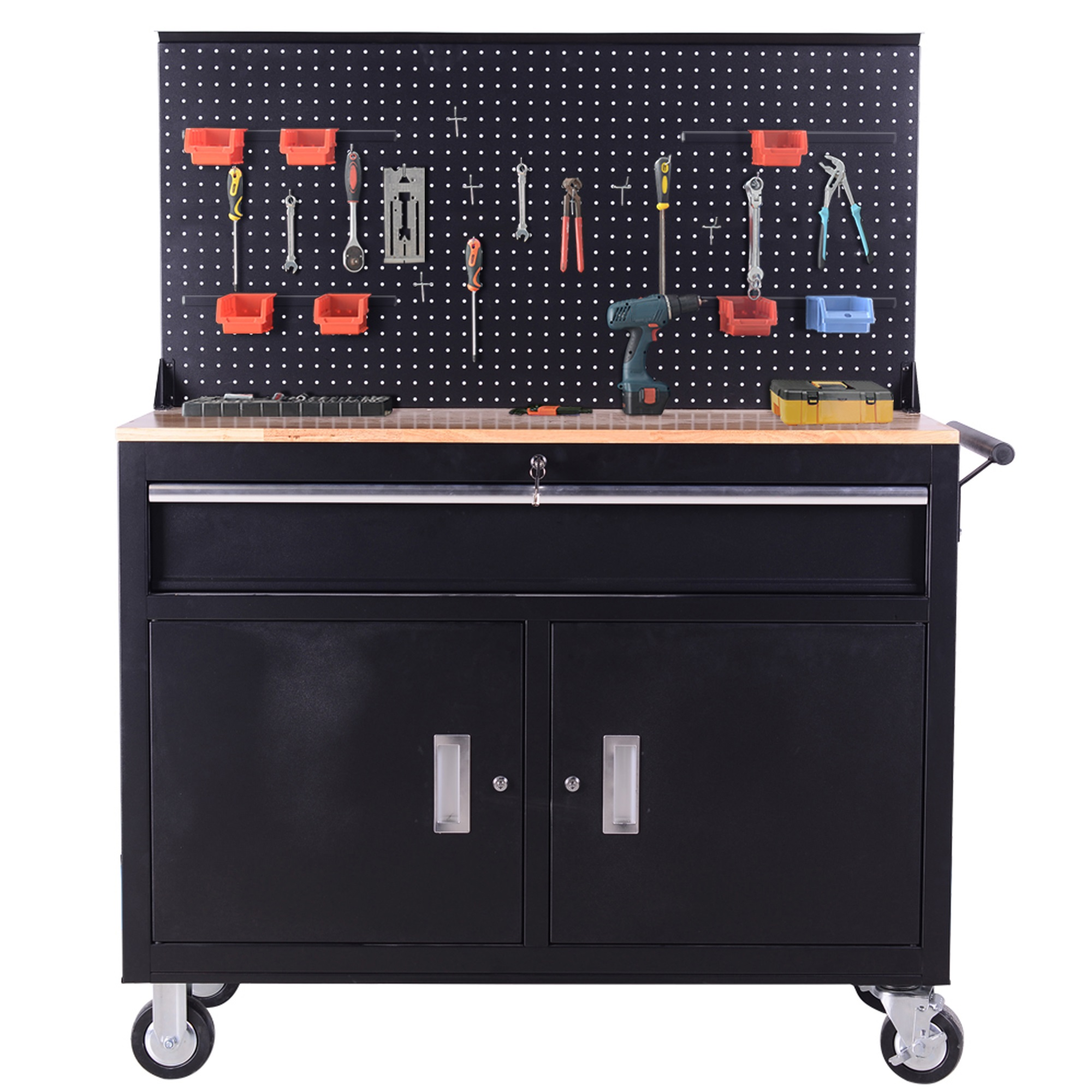 46 inch FRONTIER Mobile work station, tool chest, tool cabinet, with pegboard.