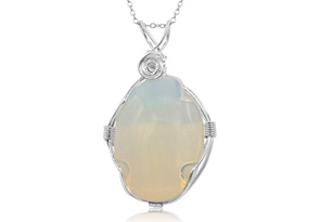 Sterling Silver Wire Wrapped Created Opal Necklace 18 Inches by