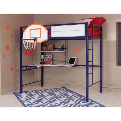 Twin Loft Bed With Study And Basketball Hoop Blue