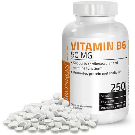 Bronson Vitamin B-6 50 mg, 250 Tablets (Vitamin B6 P5p)