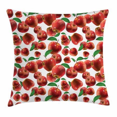 Apple Throw Pillow Cushion Cover, Rubin Variety of Apple Farm Produces Scattered Autumn Season Fruits Photo, Decorative Square Accent Pillow Case, 18 X 18 Inches, Lime Green Burgundy, by Ambesonne